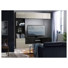 bestå tv storage combination glass doors black brown selsviken
