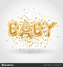 gold baby balloons u2014 stock vector pirinairina 139972922
