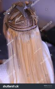 hair extension salon hair extension salon hair sew on stock photo 598650302