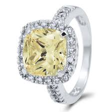 canary engagement rings sterling silver cushion canary yellow cubic zirconia cz halo