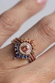 bracelet ring set images Sunset ring set by minimalvs on etsy orange and blue sapphires jpg