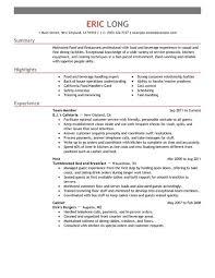 Sample Resume Restaurant by Restaurant Resumes Lovely Design Ideas Resume For Restaurant 16
