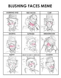 Blushing Meme - blushing faces meme by ursisurpi on deviantart