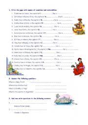 english worksheet countries capitals and nationalities