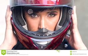 ladies motorcycle helmet attractive in red full face motorcycle helmet royalty free
