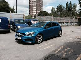 mercedes in manchester mercedes a45 amg wrapped in 3m matte metallic blue wrapvehicles