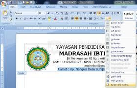 cara membuat kop surat dan logo cara membuat dua garis pada kop surat di office word 2007 dan versi