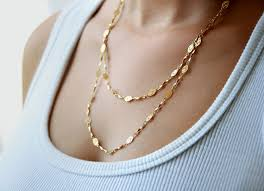 double gold necklace images Long gold chain necklace double strand gold chain necklace jpg