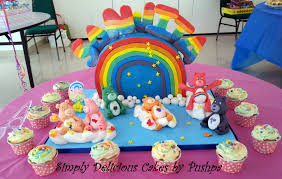 Bear Themed Baby Shower Cakes Simply Delicious Cakes Rainbow With Care Bears Birthday Cake