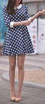 just a pretty style street style polka dots dress with collar
