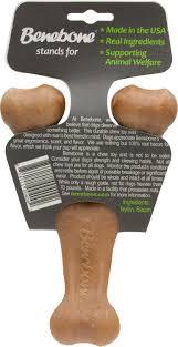 benebone bacon flavored regular wishbone dog chew toy chewy com