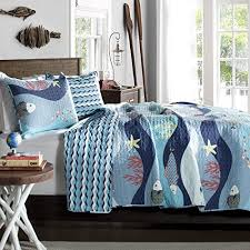 Fish Themed Comforters White Red Baby Teal Blue Sea Fish Starfish Coral Bedding Quilt