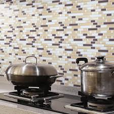stick on backsplash tiles for kitchen peel and stick wall tile kitchen and bathroom backsplashes 10 pcs