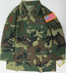 Uniform Flag Patch Woodland Camo Jacket With Army Patches Sewn On Kids