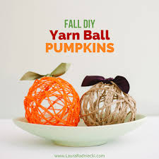 fall diy yarn pumpkins diy thanksgiving decor