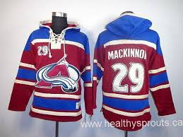 29 nathan mackinnon red sawyer hooded sweatshirt stitched nhl