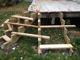 Corner Deck Stairs Design Woodworking How Can I Place Treads On These Stairs Around A