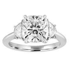 cushion cut engagement ring cushion cut engagement ring with half moon side stones