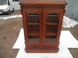 Dr Bookcase Antique C 1880 Renaissance Revival 2 Dr Walnut Bookcase Nice