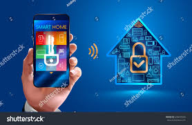 smart home systems man using smart phone controls smart stock vector 678647530