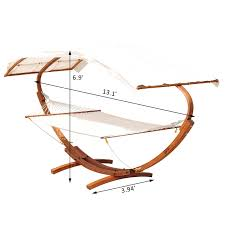 outsunny 2 person wood swing arc hammock bed and stand set with