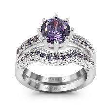 amethyst wedding rings 0 75 ct cut lab created amethyst diamond bridal set