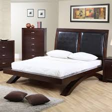 Full Platform Bed With Headboard Elements International Raven Queen Faux Leather Headboard Platform