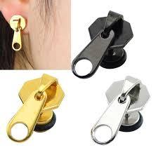ear piercing earrings 2pcs lot rock zipper earrings tools stud stainless steel