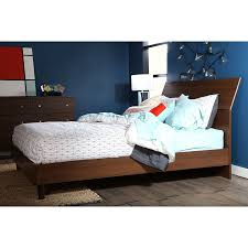 amazon com south shore 60 inch olly mid century modern platform amazon com south shore 60 inch olly mid century modern platform bed with headboard queen brown walnut kitchen dining