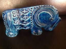 vintage bitossi ceramic elephant aldo londi italy rimini blue