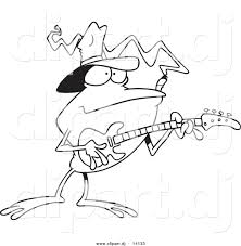 vector of cartoon bass guitarist frog coloring page outline by