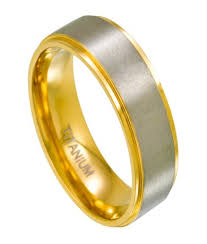 titanium wedding bands mens titanium two toned wedding bands gold satin