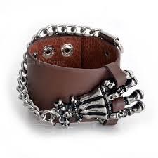 skull hand bracelet images Big skull hand brown leather bracelets callvogue jpg