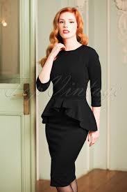 peplum dress 50s leslie peplum dress in black
