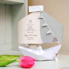 25th silver wedding anniversary paper boat card by the little