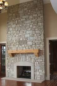 exterior design stone veneer panels wall and pole with fireplace