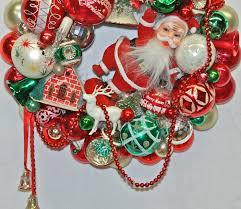 santa u0027s greeting wreath glittermoon vintage christmas