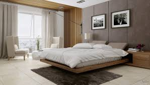 bedroom platform bed with tufted headboard and check pattern quilt
