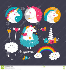 free rainbow birthday invitations set of baby unicorn and rainbow stock vector image 74941347