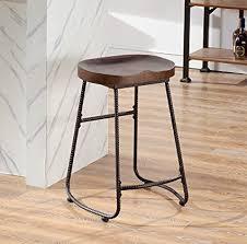 24 inch backless bar stools amazon com o k furniture contoured saddle seat 24 inch backless bar
