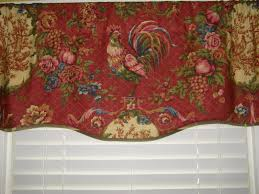 French Country Curtains Waverly by Country Scalloped Valance Curtain Waverly Red Gold Rooster Toile Lined