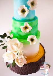 summery tree stump wedding cake veena azmanov