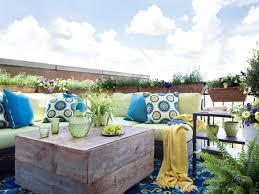 idyllic outdoor patio colorful furniture deco integrate alluring