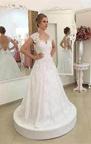 short sleeve a line lace wedding dress gorgeous cheap 2017 bridal