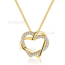 lady gold necklace images Lkn18krgpn586 romantic heart crystal decor pendant jewelry jpg
