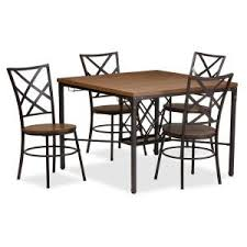 Black And Wood Dining Table Baxton Studio Vintner 5 Piece Black Metal And Natural Wood Dining