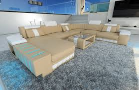 Custom Leather Sectional Sofa Xxl Leather Sectional Sofa Bellagio With Led Lighting Colour