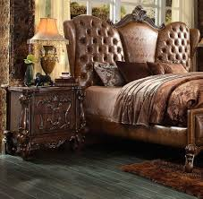 Mission Style Bedroom Furniture Cherry Light Brown Pu Cherry Oak Bed Ac Chateau Traditional Bedroom