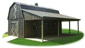 Barn Roof Styles by Two Story Workshop Package Board N Batten Gambrel Barn With Lean