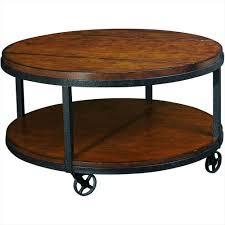 traditional round cocktail table with solid wood top and storage